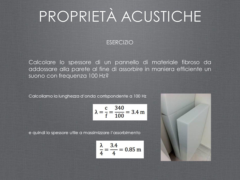 ESERCIZIO PROPRIETÀ ACUSTICHE Calcolare lo spessore di un pannello di materiale fibroso da addossare alla parete al fine di assorbire in maniera effic