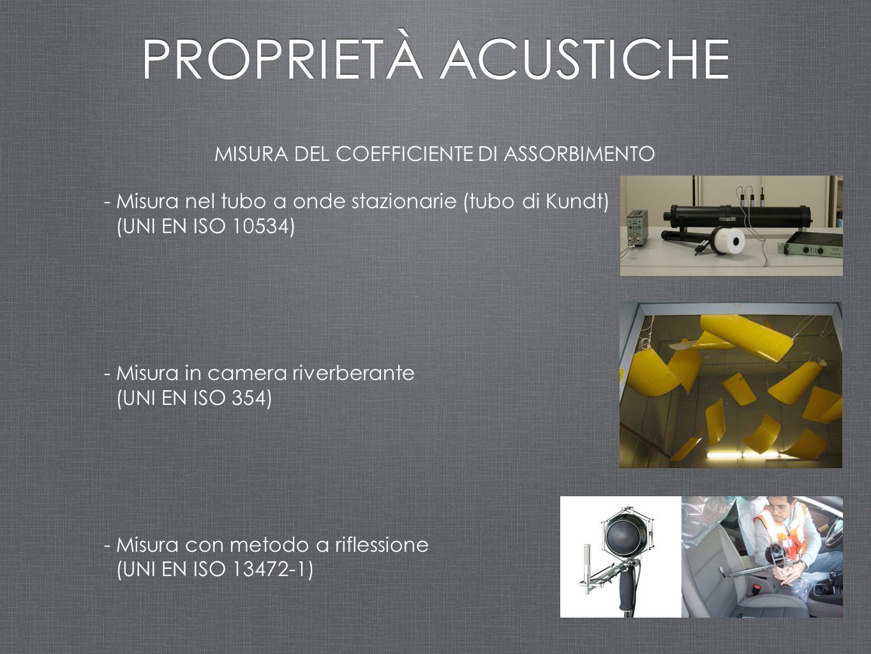 MISURA DEL COEFFICIENTE DI ASSORBIMENTO - Misura nel tubo a onde stazionarie (tubo di Kundt) (UNI EN ISO 10534) - Misura in camera riverberante (UNI E