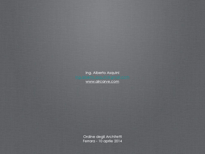 ing. Alberto Asquini ing.alberto.asquini@gmail.com www.aircarve.com Ordine degli Architetti Ferrara - 10 aprile 2014