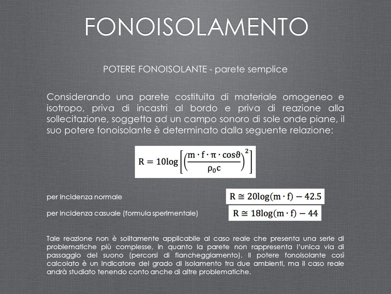 POTERE FONOISOLANTE - parete semplice Considerando una parete costituita di materiale omogeneo e isotropo, priva di incastri al bordo e priva di reazi