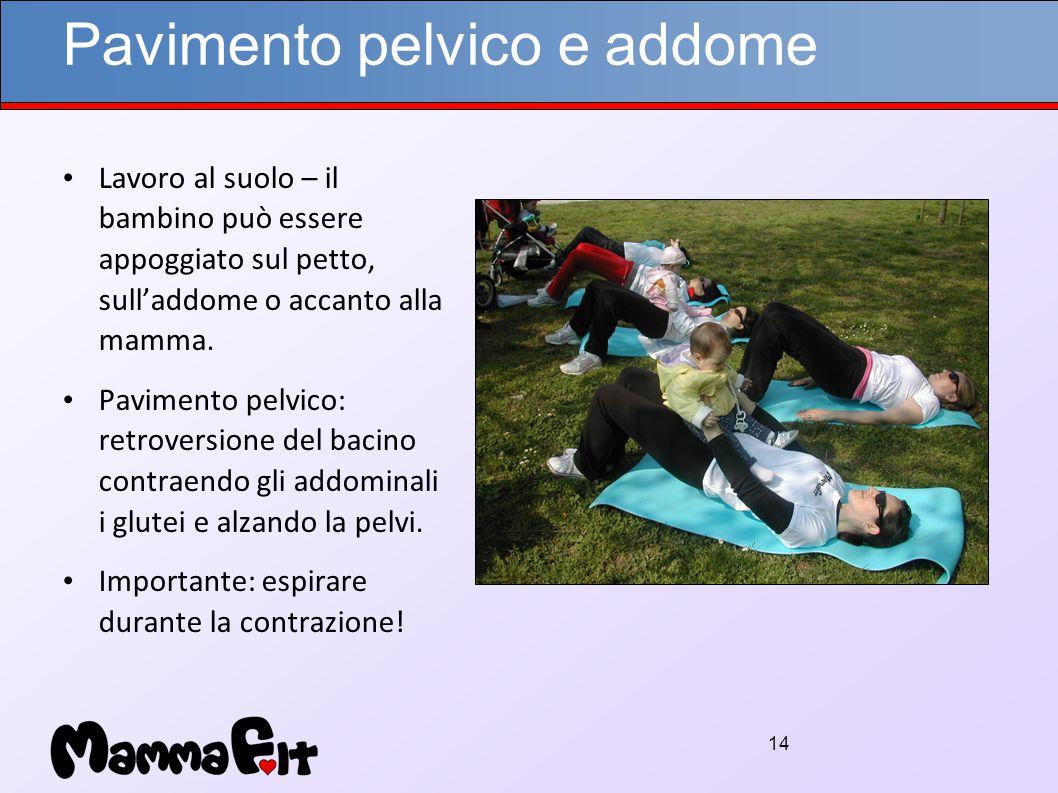 14 Pavimento pelvico e addome Lavoro al suolo – il bambino può essere appoggiato sul petto, sull'addome o accanto alla mamma.