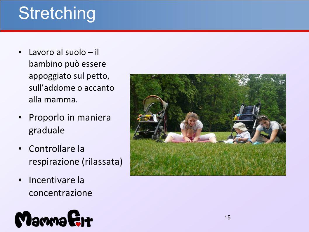 15 Stretching Lavoro al suolo – il bambino può essere appoggiato sul petto, sull'addome o accanto alla mamma.