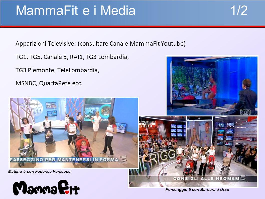 22 MammaFit e i Media 1/2 Apparizioni Televisive: (consultare Canale MammaFit Youtube) TG1, TG5, Canale 5, RAI1, TG3 Lombardia, TG3 Piemonte, TeleLombardia, MSNBC, QuartaRete ecc.