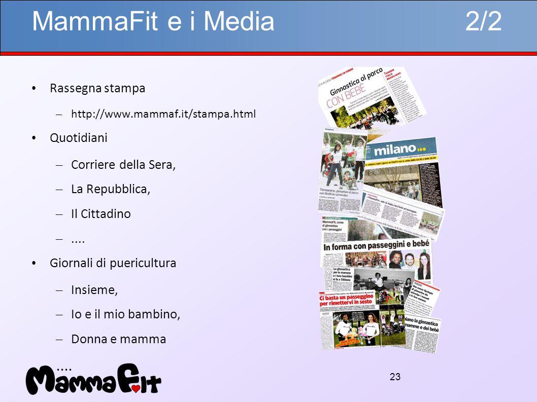 23 MammaFit e i Media 2/2 Rassegna stampa – http://www.mammaf.it/stampa.html Quotidiani – Corriere della Sera, – La Repubblica, – Il Cittadino –....