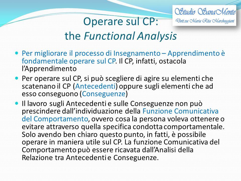 Operare sul CP: the Functional Analysis Per migliorare il processo di Insegnamento – Apprendimento è fondamentale operare sul CP. Il CP, infatti, osta