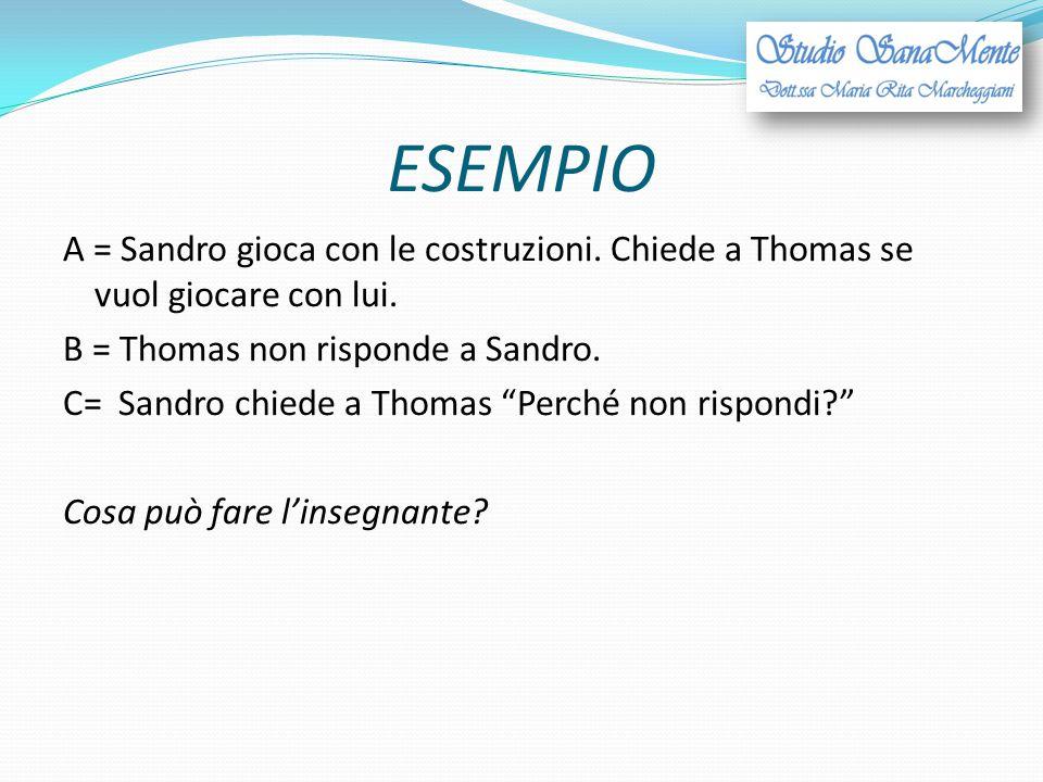 """ESEMPIO A = Sandro gioca con le costruzioni. Chiede a Thomas se vuol giocare con lui. B = Thomas non risponde a Sandro. C= Sandro chiede a Thomas """"Per"""