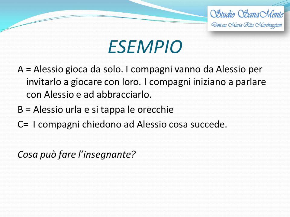 ESEMPIO A = Alessio gioca da solo. I compagni vanno da Alessio per invitarlo a giocare con loro. I compagni iniziano a parlare con Alessio e ad abbrac