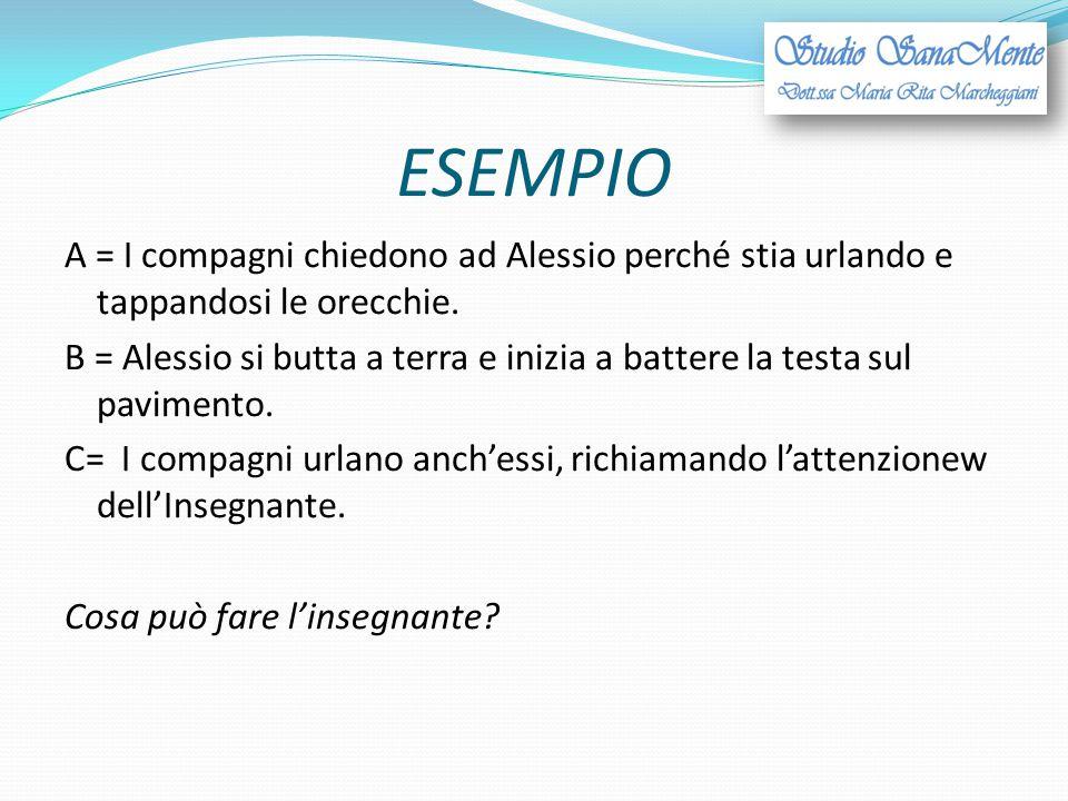 ESEMPIO A = I compagni chiedono ad Alessio perché stia urlando e tappandosi le orecchie. B = Alessio si butta a terra e inizia a battere la testa sul