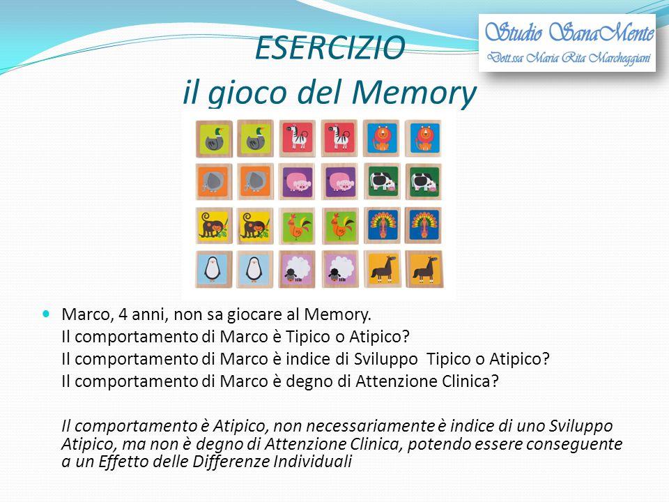 ESERCIZIO il gioco del Memory Marco, 4 anni, non sa giocare al Memory. Il comportamento di Marco è Tipico o Atipico? Il comportamento di Marco è indic