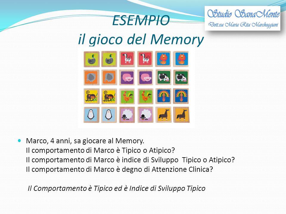 ESEMPIO il gioco del Memory Marco, 4 anni, sa giocare al Memory. Il comportamento di Marco è Tipico o Atipico? Il comportamento di Marco è indice di S