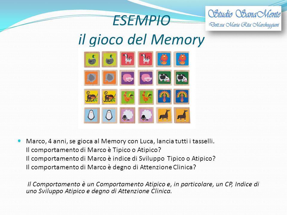 ESEMPIO il gioco del Memory Marco, 4 anni, se gioca al Memory con Luca, lancia tutti i tasselli. Il comportamento di Marco è Tipico o Atipico? Il comp