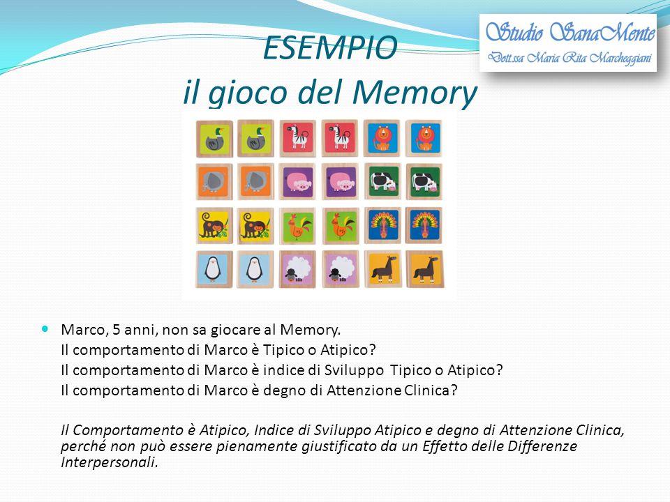 ESEMPIO il gioco del Memory Marco, 5 anni, non sa giocare al Memory. Il comportamento di Marco è Tipico o Atipico? Il comportamento di Marco è indice