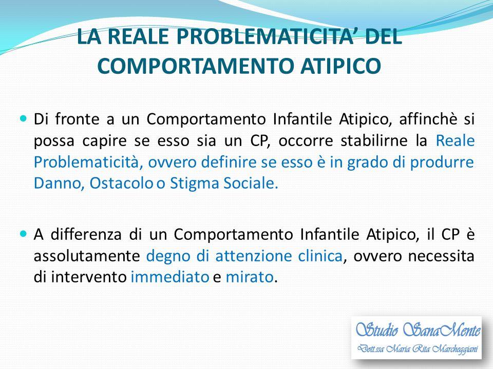 LA REALE PROBLEMATICITA' DEL COMPORTAMENTO ATIPICO Di fronte a un Comportamento Infantile Atipico, affinchè si possa capire se esso sia un CP, occorre