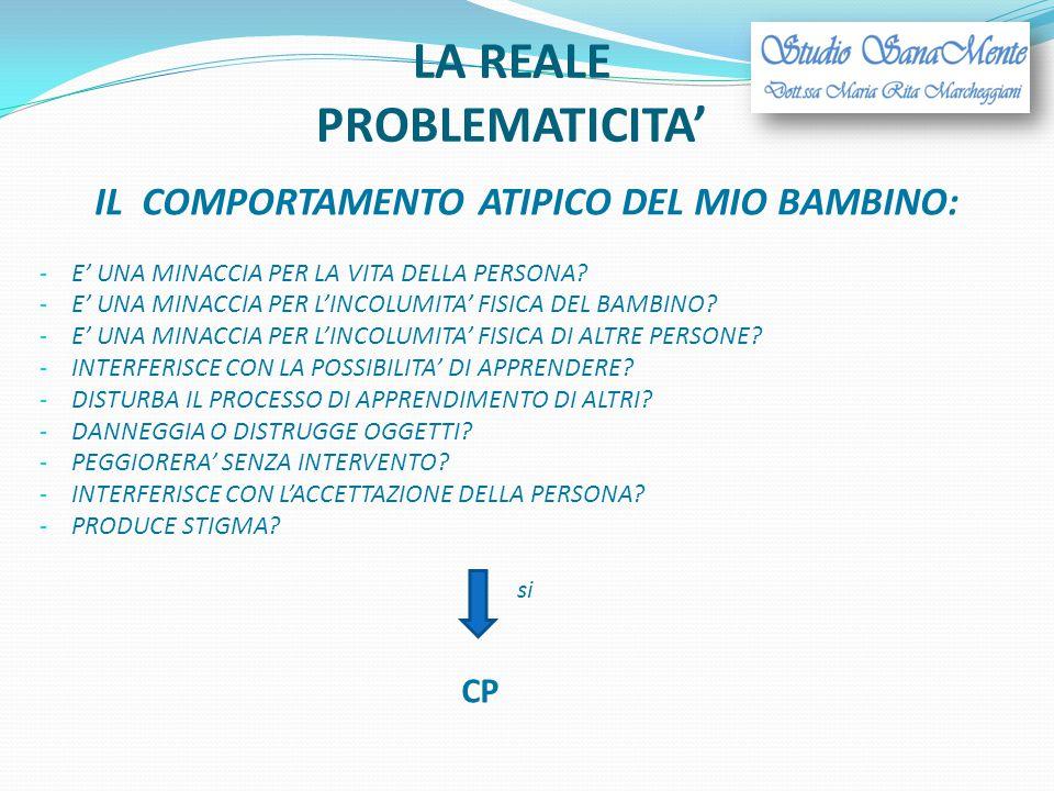 LA REALE PROBLEMATICITA' IL COMPORTAMENTO ATIPICO DEL MIO BAMBINO: - E' UNA MINACCIA PER LA VITA DELLA PERSONA? - E' UNA MINACCIA PER L'INCOLUMITA' FI