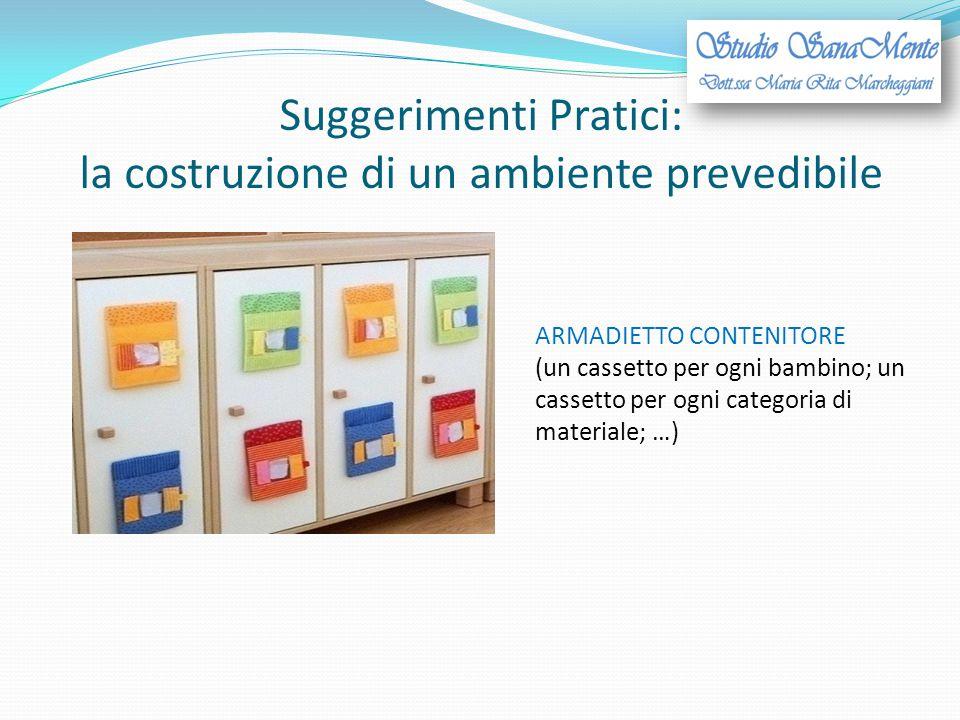 Suggerimenti Pratici: la costruzione di un ambiente prevedibile ARMADIETTO CONTENITORE (un cassetto per ogni bambino; un cassetto per ogni categoria d