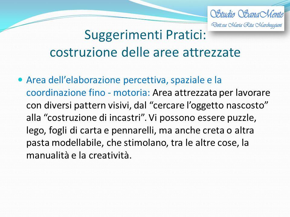 Suggerimenti Pratici: costruzione delle aree attrezzate Area dell'elaborazione percettiva, spaziale e la coordinazione fino - motoria: Area attrezzata