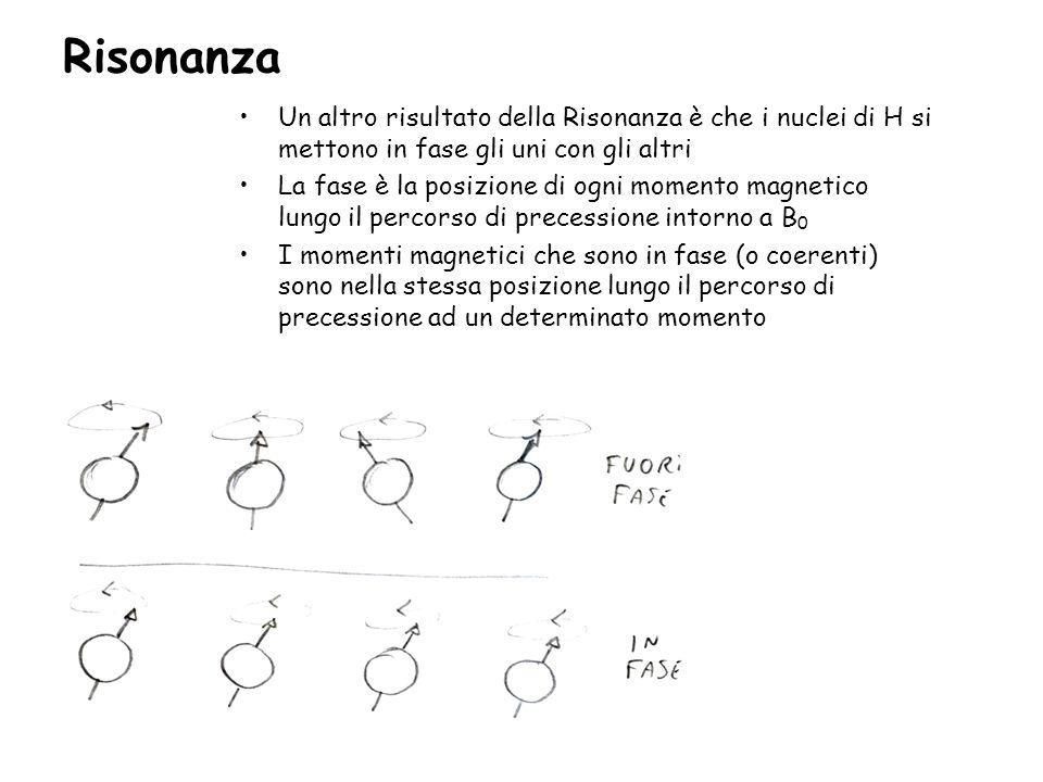 Risonanza Un altro risultato della Risonanza è che i nuclei di H si mettono in fase gli uni con gli altri La fase è la posizione di ogni momento magne