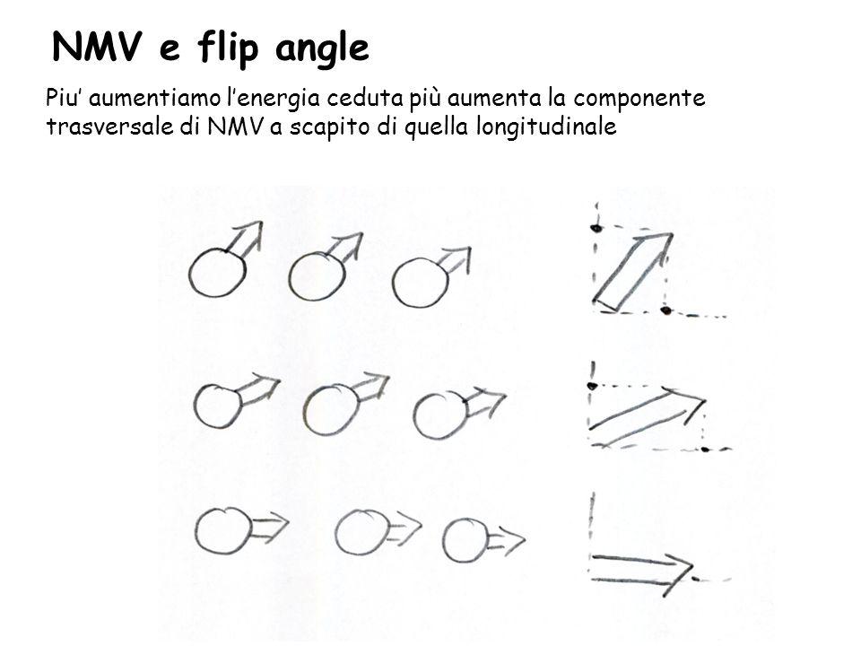 NMV e flip angle Piu' aumentiamo l'energia ceduta più aumenta la componente trasversale di NMV a scapito di quella longitudinale