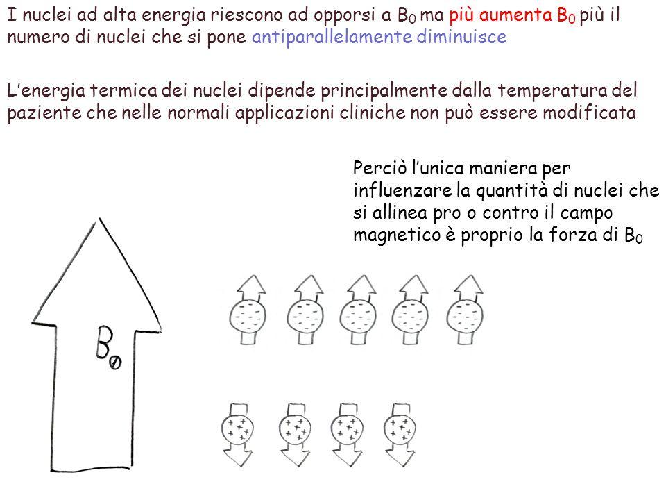 I nuclei ad alta energia riescono ad opporsi a B 0 ma più aumenta B 0 più il numero di nuclei che si pone antiparallelamente diminuisce L'energia term
