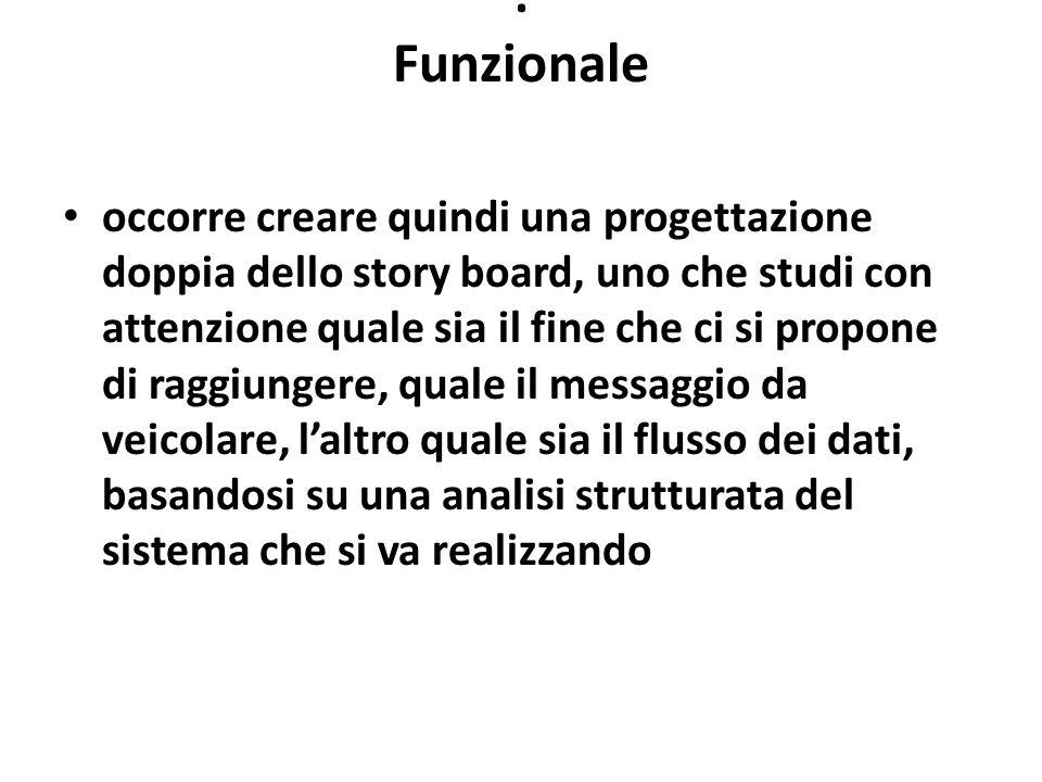 : Funzionale occorre creare quindi una progettazione doppia dello story board, uno che studi con attenzione quale sia il fine che ci si propone di rag