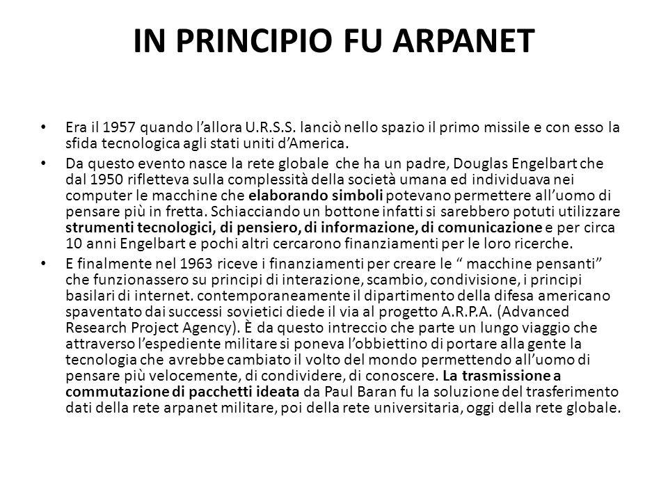 IN PRINCIPIO FU ARPANET Era il 1957 quando l'allora U.R.S.S. lanciò nello spazio il primo missile e con esso la sfida tecnologica agli stati uniti d'A