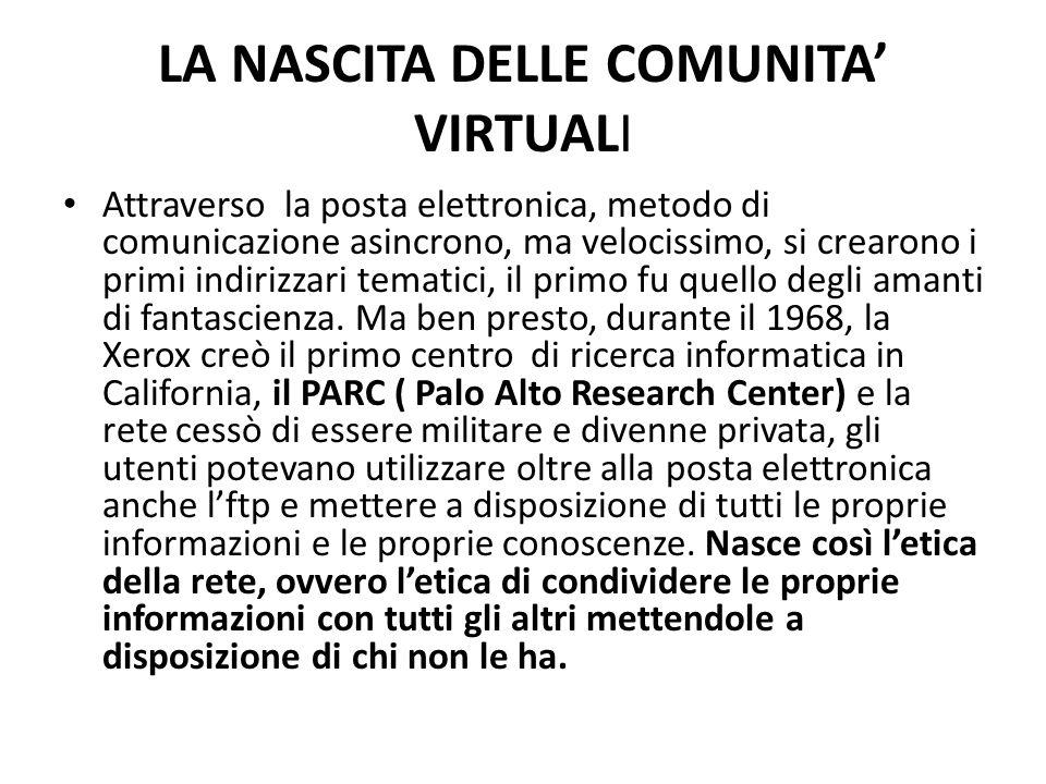 LA NASCITA DELLE COMUNITA' VIRTUALI Attraverso la posta elettronica, metodo di comunicazione asincrono, ma velocissimo, si crearono i primi indirizzar