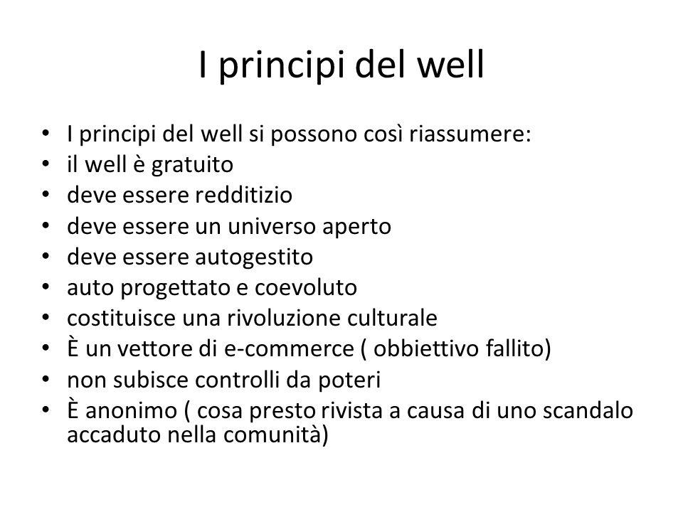 I principi del well I principi del well si possono così riassumere: il well è gratuito deve essere redditizio deve essere un universo aperto deve esse