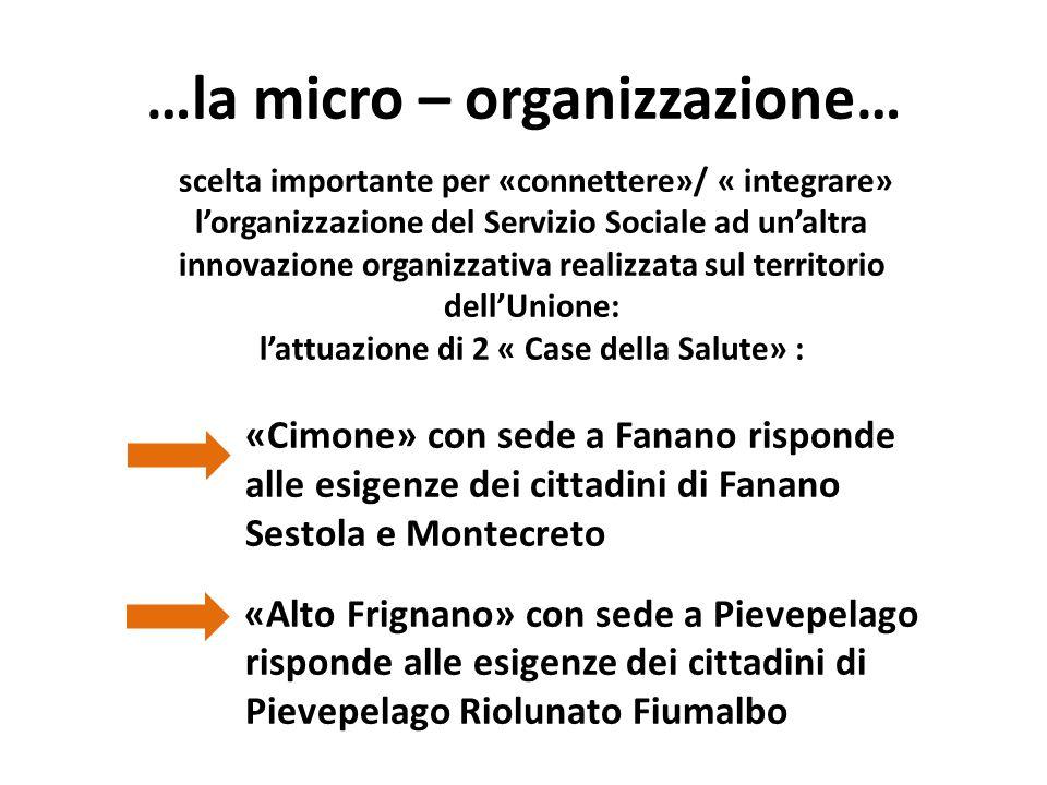 …la micro – organizzazione… scelta importante per «connettere»/ « integrare» l'organizzazione del Servizio Sociale ad un'altra innovazione organizzati