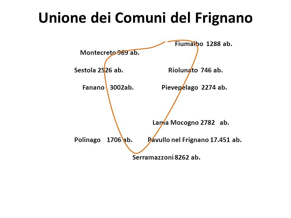 Unione dei Comuni del Frignano Fiumalbo 1288 ab. Montecreto 969 ab. Sestola 2526 ab. Riolunato 746 ab. Fanano 3002ab.Pievepelago 2274 ab. Lama Mocogno