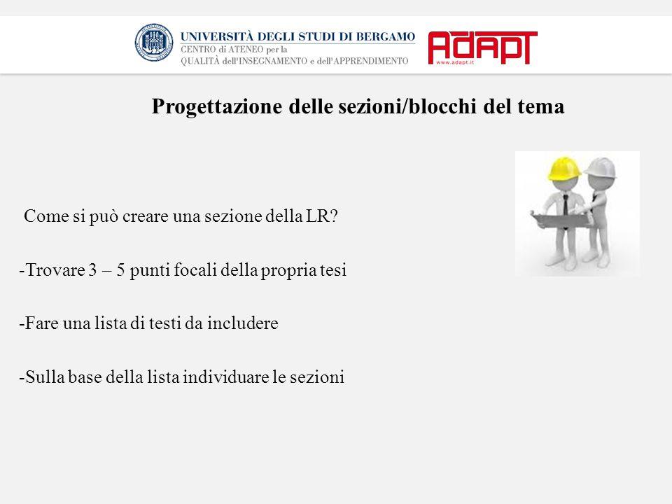 Progettazione delle sezioni/blocchi del tema Come si può creare una sezione della LR? -Trovare 3 – 5 punti focali della propria tesi -Fare una lista d