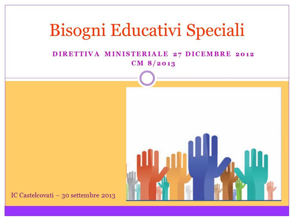DIRETTIVA MINISTERIALE 27 DICEMBRE 2012 CM 8/2013 Bisogni Educativi Speciali IC Castelcovati – 30 settembre 2013
