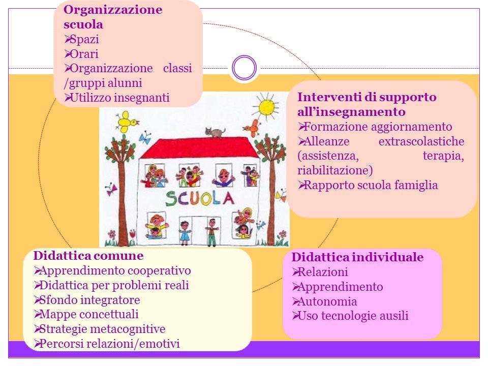 Organizzazione scuola  Spazi  Orari  Organizzazione classi /gruppi alunni  Utilizzo insegnanti Didattica individuale  Relazioni  Apprendimento 