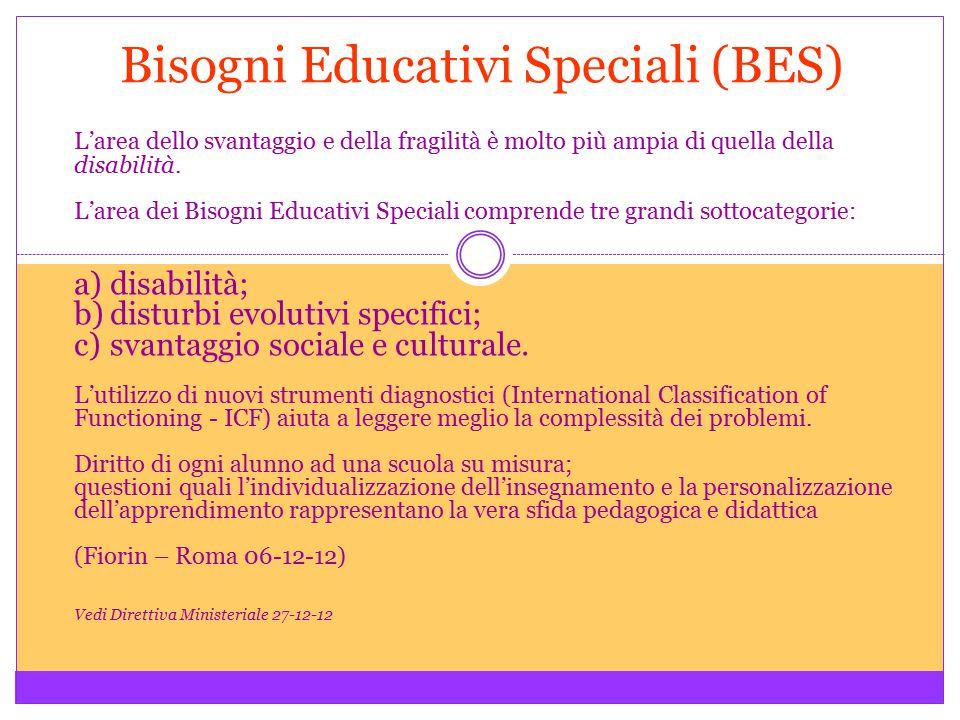 Bisogni Educativi Speciali (BES) L'area dello svantaggio e della fragilità è molto più ampia di quella della disabilità. L'area dei Bisogni Educativi
