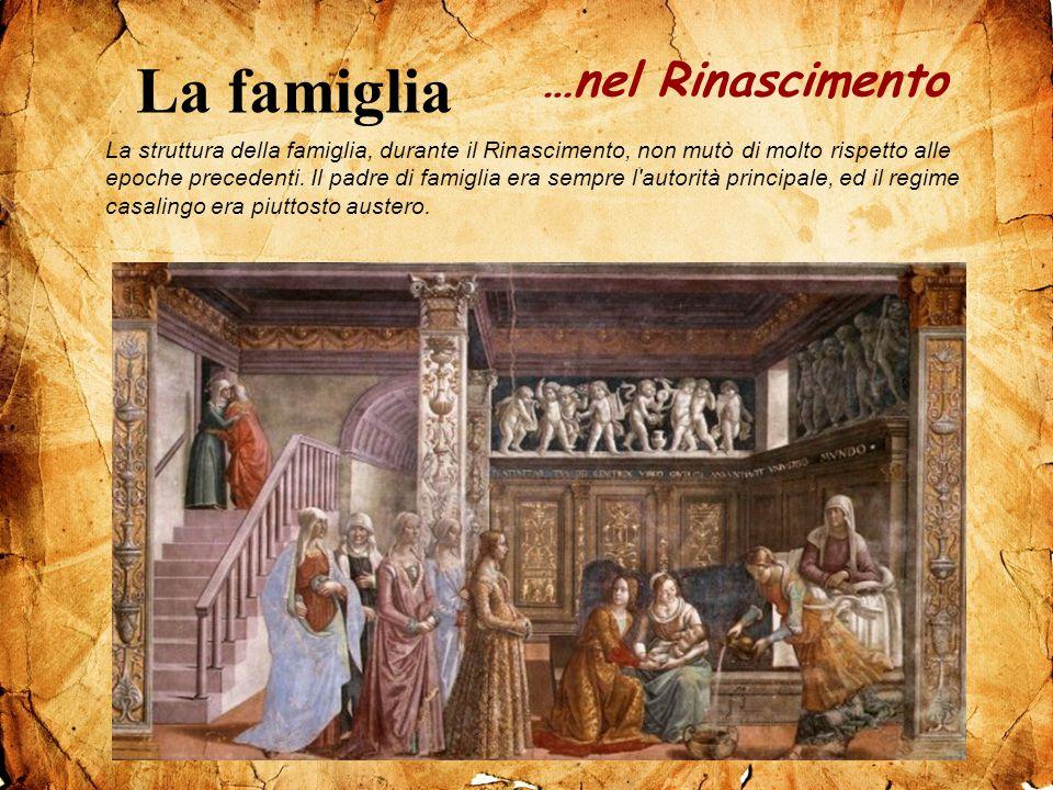 La struttura della famiglia, durante il Rinascimento, non mutò di molto rispetto alle epoche precedenti. Il padre di famiglia era sempre l'autorità pr