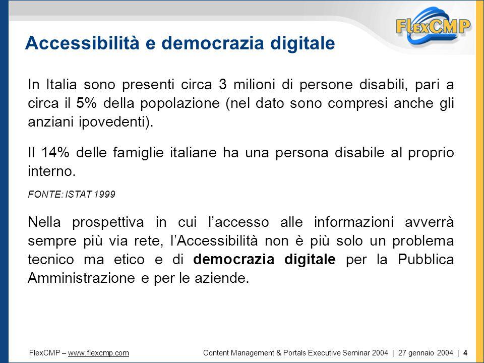 FlexCMP – www.flexcmp.comwww.flexcmp.comContent Management & Portals Executive Seminar 2004 | 27 gennaio 2004 | 4 Accessibilità e democrazia digitale In Italia sono presenti circa 3 milioni di persone disabili, pari a circa il 5% della popolazione (nel dato sono compresi anche gli anziani ipovedenti).