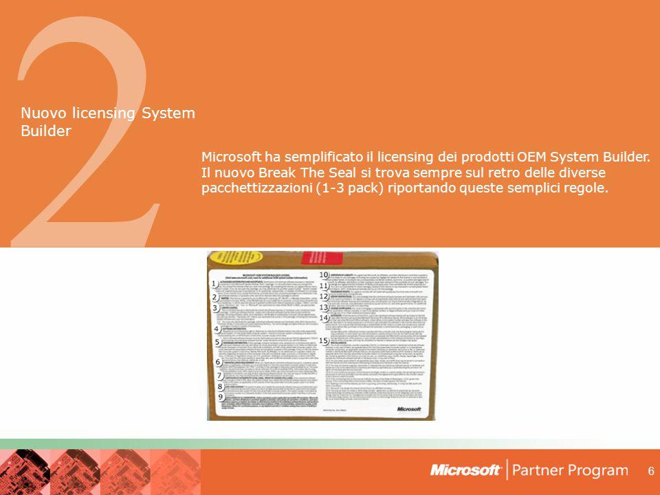 6 2 Microsoft ha semplificato il licensing dei prodotti OEM System Builder.