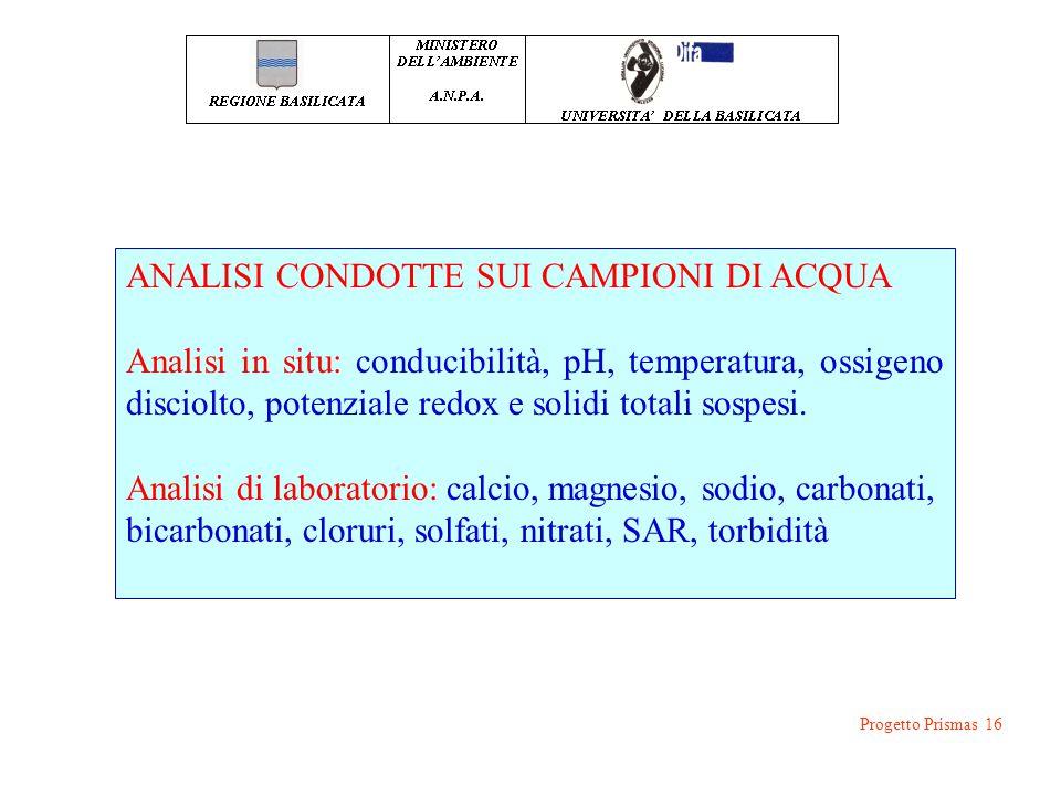 ANALISI CONDOTTE SUI CAMPIONI DI ACQUA Analisi in situ: conducibilità, pH, temperatura, ossigeno disciolto, potenziale redox e solidi totali sospesi.