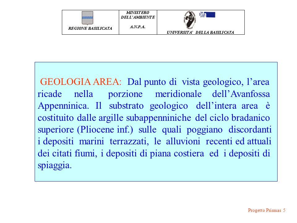 CONOSCENZE PREGRESSE: Progetto Prismas 5 GEOLOGIA AREA: Dal punto di vista geologico, l'area ricade nella porzione meridionale dell'Avanfossa Appennin