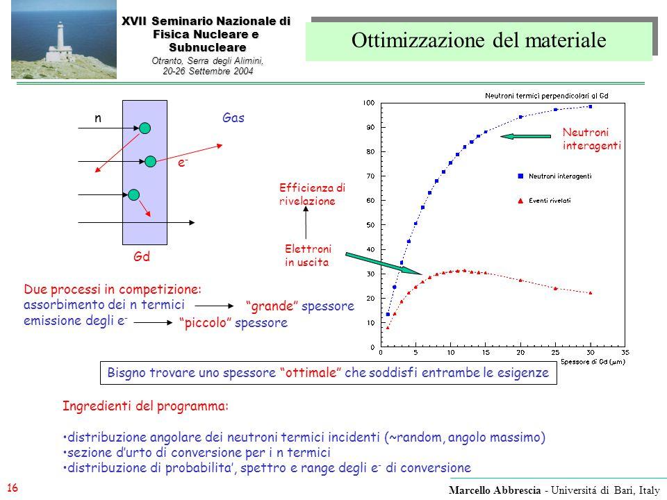 16 Marcello Abbrescia - Universitá di Bari, Italy XVII Seminario Nazionale di Fisica Nucleare e Subnucleare Otranto, Serra degli Alimini, 20-26 Settem