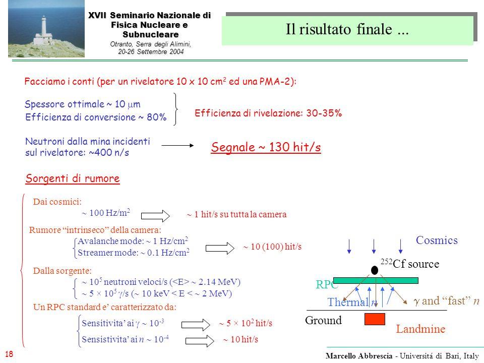 18 Marcello Abbrescia - Universitá di Bari, Italy XVII Seminario Nazionale di Fisica Nucleare e Subnucleare Otranto, Serra degli Alimini, 20-26 Settem