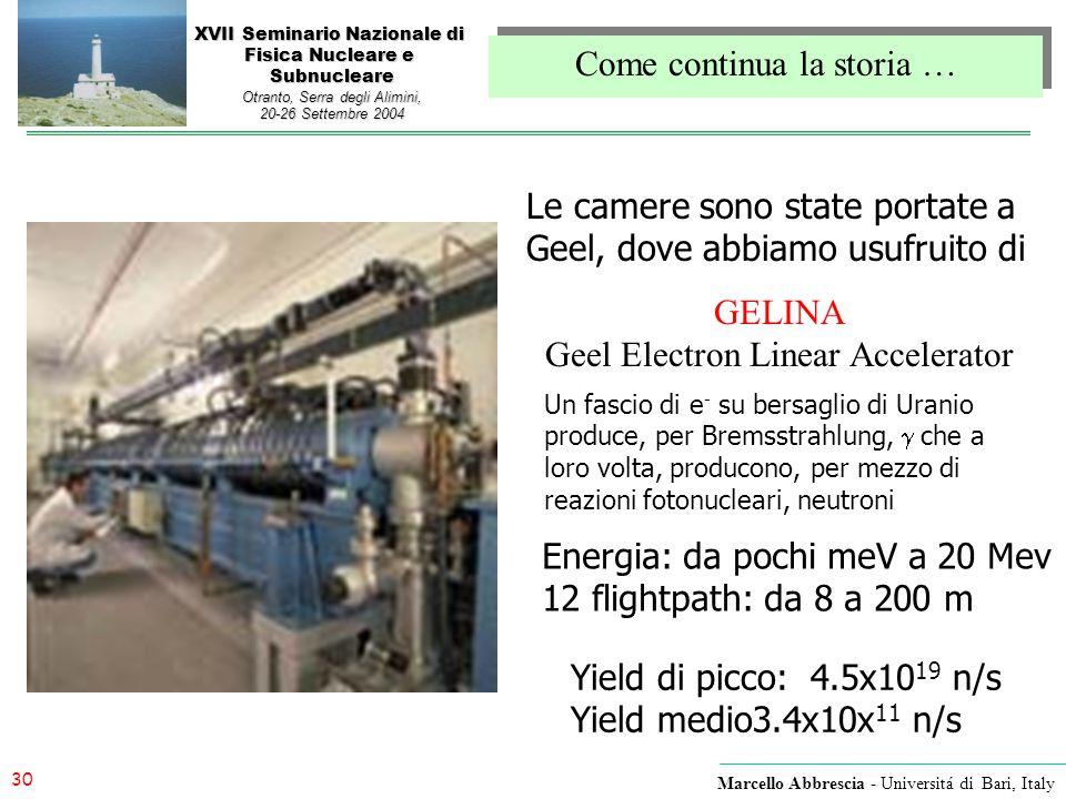 30 Marcello Abbrescia - Universitá di Bari, Italy XVII Seminario Nazionale di Fisica Nucleare e Subnucleare Otranto, Serra degli Alimini, 20-26 Settem