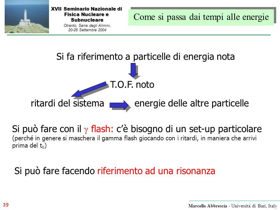 39 Marcello Abbrescia - Universitá di Bari, Italy XVII Seminario Nazionale di Fisica Nucleare e Subnucleare Otranto, Serra degli Alimini, 20-26 Settem