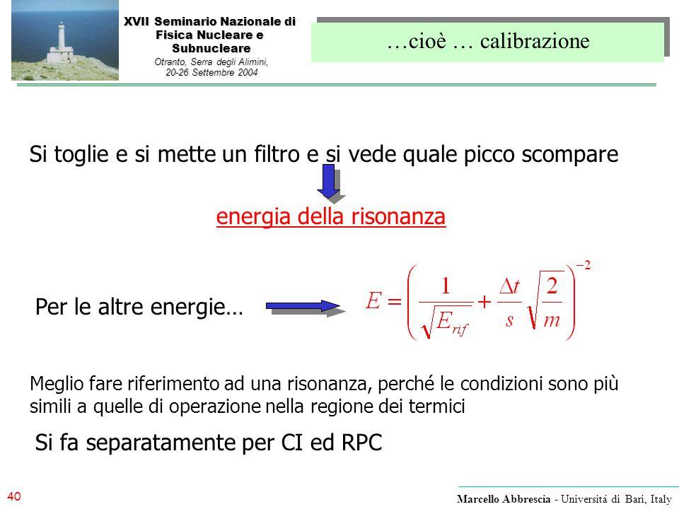 40 Marcello Abbrescia - Universitá di Bari, Italy XVII Seminario Nazionale di Fisica Nucleare e Subnucleare Otranto, Serra degli Alimini, 20-26 Settem