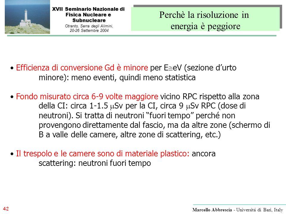 42 Marcello Abbrescia - Universitá di Bari, Italy XVII Seminario Nazionale di Fisica Nucleare e Subnucleare Otranto, Serra degli Alimini, 20-26 Settem