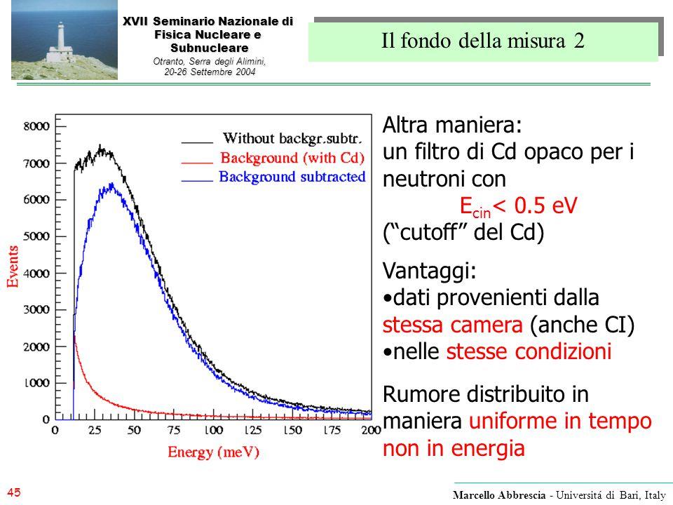 45 Marcello Abbrescia - Universitá di Bari, Italy XVII Seminario Nazionale di Fisica Nucleare e Subnucleare Otranto, Serra degli Alimini, 20-26 Settem