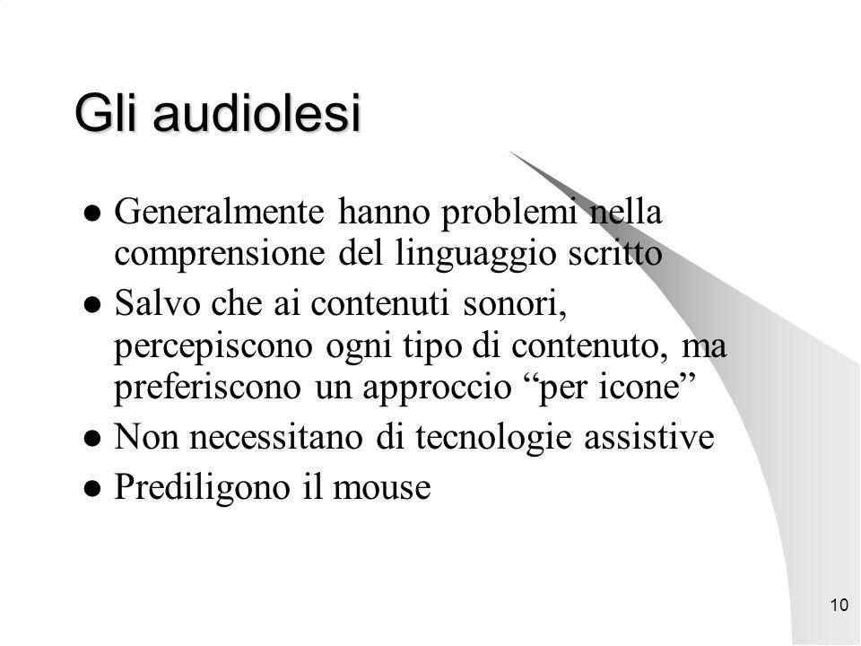 10 Gli audiolesi Generalmente hanno problemi nella comprensione del linguaggio scritto Salvo che ai contenuti sonori, percepiscono ogni tipo di contenuto, ma preferiscono un approccio per icone Non necessitano di tecnologie assistive Prediligono il mouse