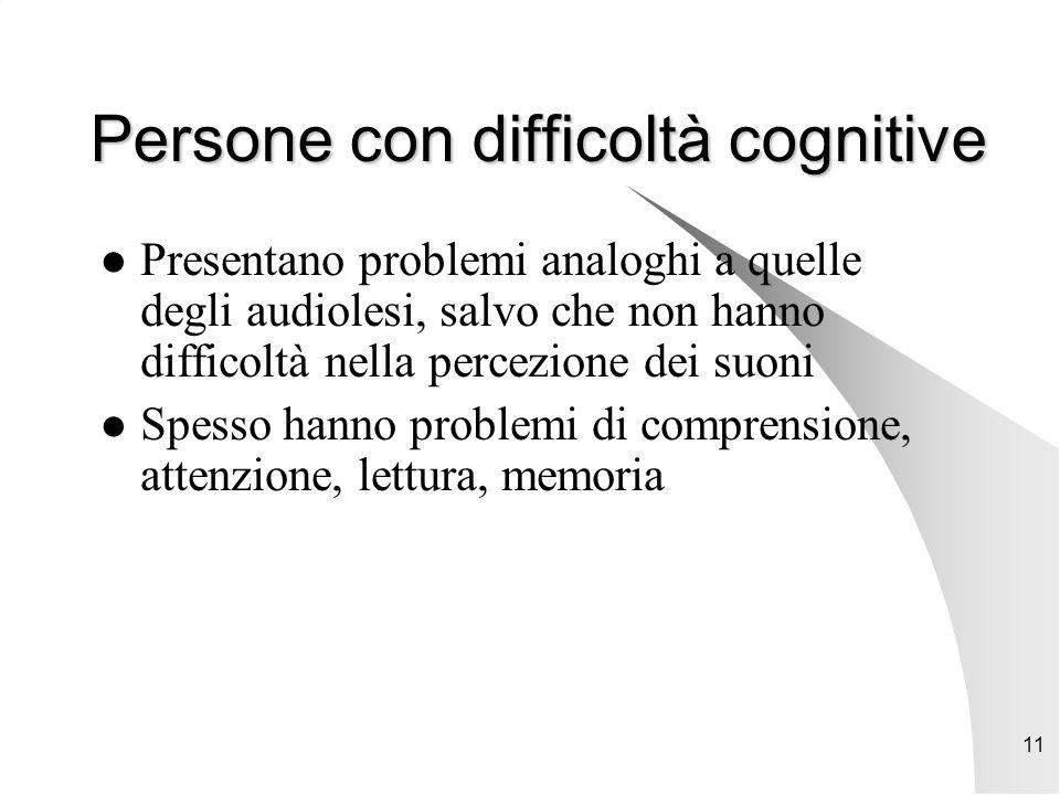 11 Persone con difficoltà cognitive Presentano problemi analoghi a quelle degli audiolesi, salvo che non hanno difficoltà nella percezione dei suoni Spesso hanno problemi di comprensione, attenzione, lettura, memoria