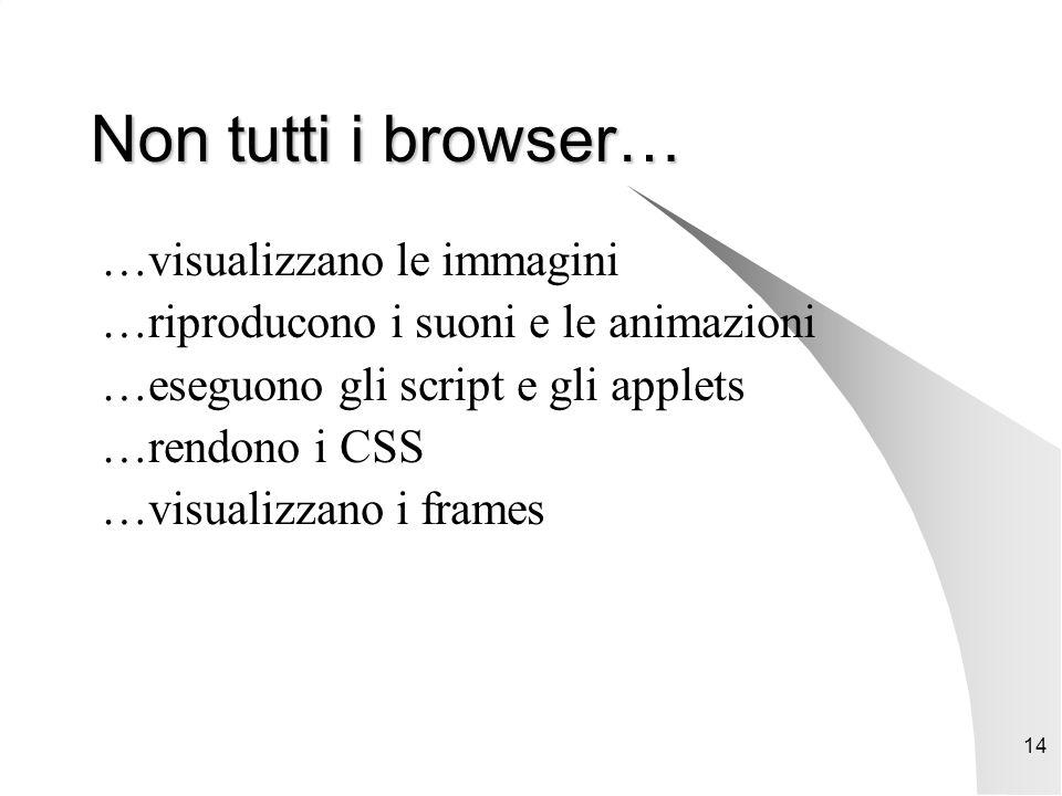 14 Non tutti i browser… …visualizzano le immagini …riproducono i suoni e le animazioni …eseguono gli script e gli applets …rendono i CSS …visualizzano i frames