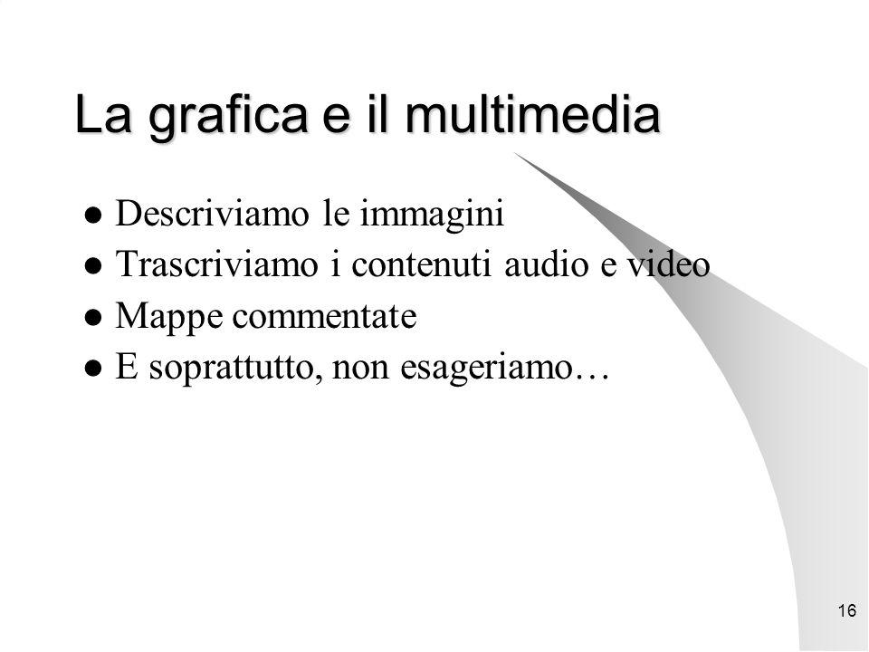 16 La grafica e il multimedia Descriviamo le immagini Trascriviamo i contenuti audio e video Mappe commentate E soprattutto, non esageriamo…