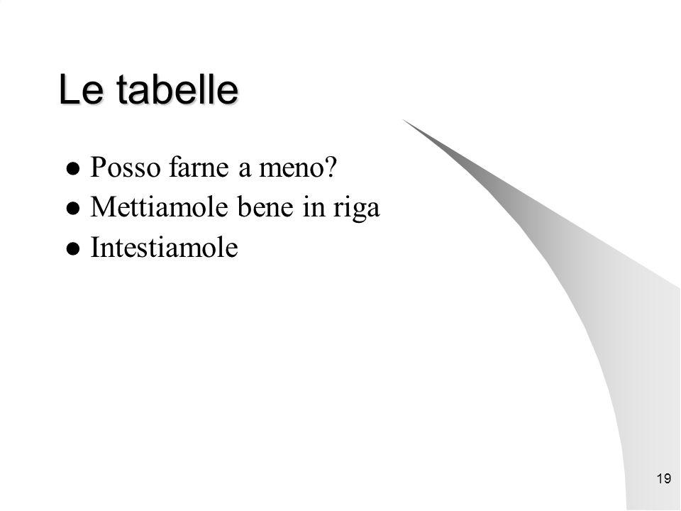 19 Le tabelle Posso farne a meno Mettiamole bene in riga Intestiamole
